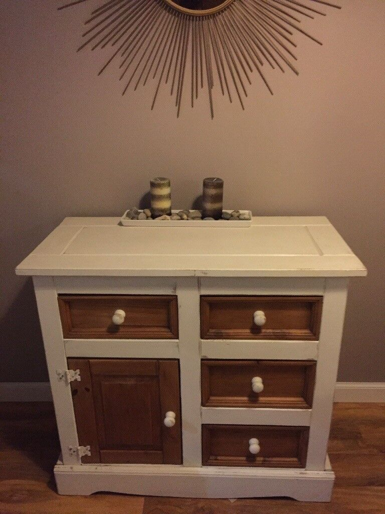 Side unit table shappy chic style drawers
