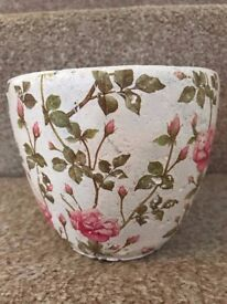 """BRAND NEW"" Unused White washed Stone Pots with pink rose design"
