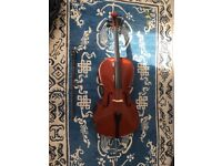¾ size cello with bow & case