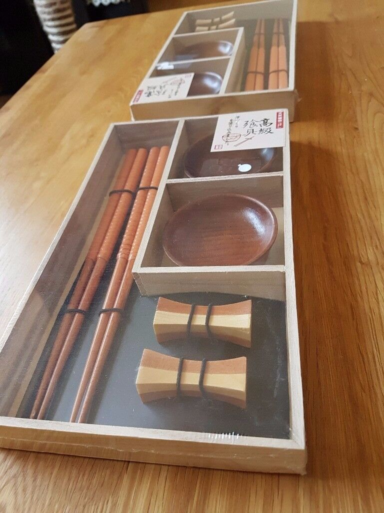 Sushi sets, entirely unused, pair of wooden sets - makes a great gift.