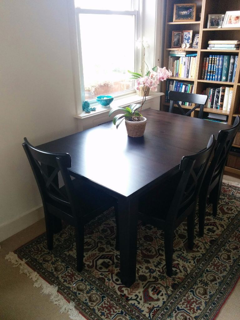 ikea stornas dining table with 6 ikea ingolf chairs in kensington london gumtree. Black Bedroom Furniture Sets. Home Design Ideas