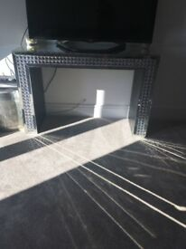 Mirrored console table with detailing. 120cm wide 79cm high, 40cm deep
