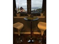 Black glass bistro table and 2 white bar stools