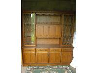 Oak side board/display cabinet