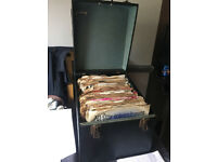 old collection of 78s records in case