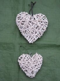 Two Wickerwork Hanging Heart Shaped Wall Ornaments - 2 for £3.00