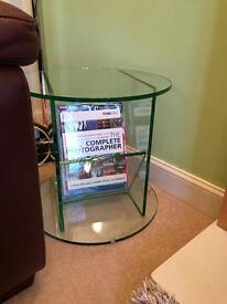 Multiyork Glass Side Table, Magazine Rack.