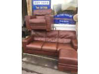 Settee and chair. Leather sofa.