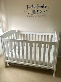 Boori classic white wooden cotbed matress and toybox