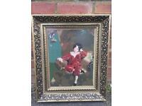 Vintage Completed framed tapestry of boy in red