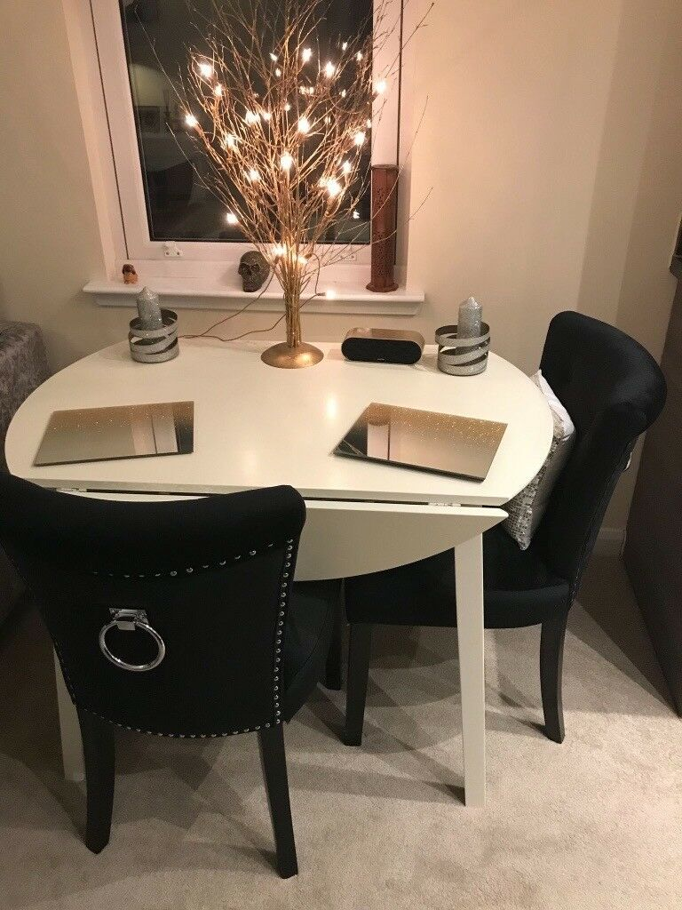 White Round Drop Leaf Dining Table Plus Two Black Velvet Dining