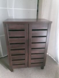 As new - Shoe storage cabinet/cupboard - mahogany effect
