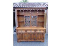 Old Charm Light Oak Dresser Display Cabinet