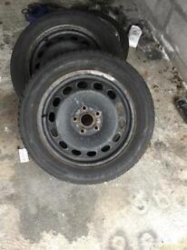 """15"""" vw steel wheels good tyres"""