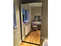 Ikea brown/black wardrobe with mirrored doors in good condition