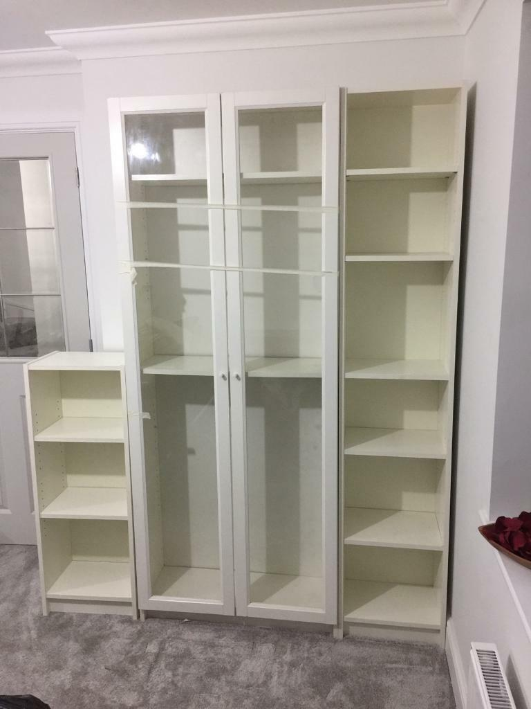 Ikea White Billy Bookcase X 3 Gl Doors Cabinet