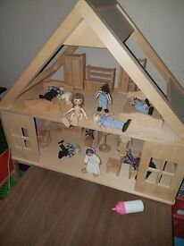 wooden doll house and funiture and people