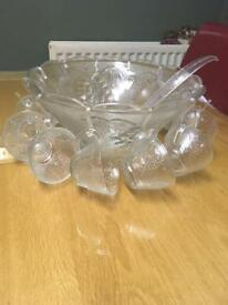 Large glass punch bowl and glasses