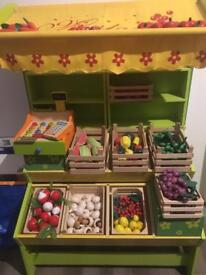 Wooden pretend fruit and veg market store with loads of accessories