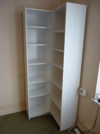 2 x Bookcases Narrow Full Height White with adjustable shelving