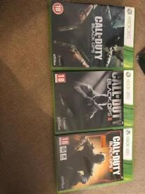 Xbox 360 call of duty 1,2 and 3