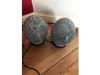 2 Bed side lights in duck egg blue/green cracked glass affect
