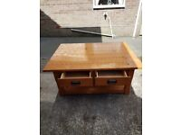 Pine Coffee Table with shelf and drawers