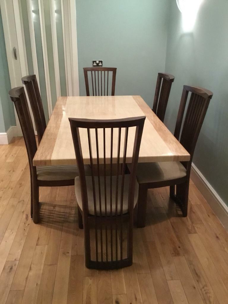 Beautiful Cream and Beige Marble Dining Table on pedestal + Solid Hardwood Dining Chairs x6