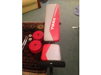 York Weight Bench ( Plus 48kg weight plates and 2 dumbell bars )