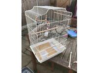 Large white parakeet cage