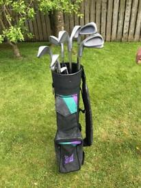 Junior Left handed golf clubs and bag