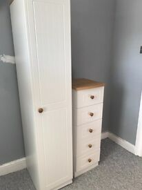 SINGLE WARDROBE AND TALLBOY DRAWERS.COTTAGE STYLE BRENTWOOD. £120 collect only.