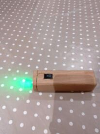 Handmade Wooden Torch 4 green led Christmas gift unique item