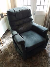 Green Corduroy Rise and Recline electrically powered Armchair