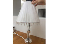 Two crystal lamps with beaded white fabric lampshades