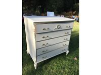 1950s Louis style chest of drawers and bedside cabins tes