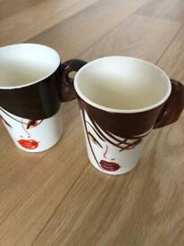 Design hand painted mugs - set of 2
