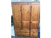 Triple pine wardrobe-£70 delivered