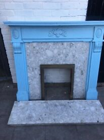 Antique old marble fireplace