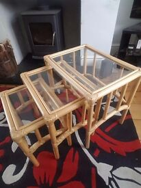 Nest of 3 wicker tables with glass tops
