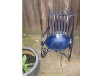 BESPOKE CAST IRON ROCKING CHAIR BIRD BATH/PLANTER