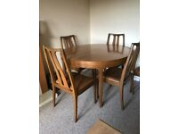 Vintage Extending Dining Table and Six Matching Chairs