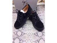 Giuseppe Zanotti Black Suede Low Top Leather Designer Sneakers