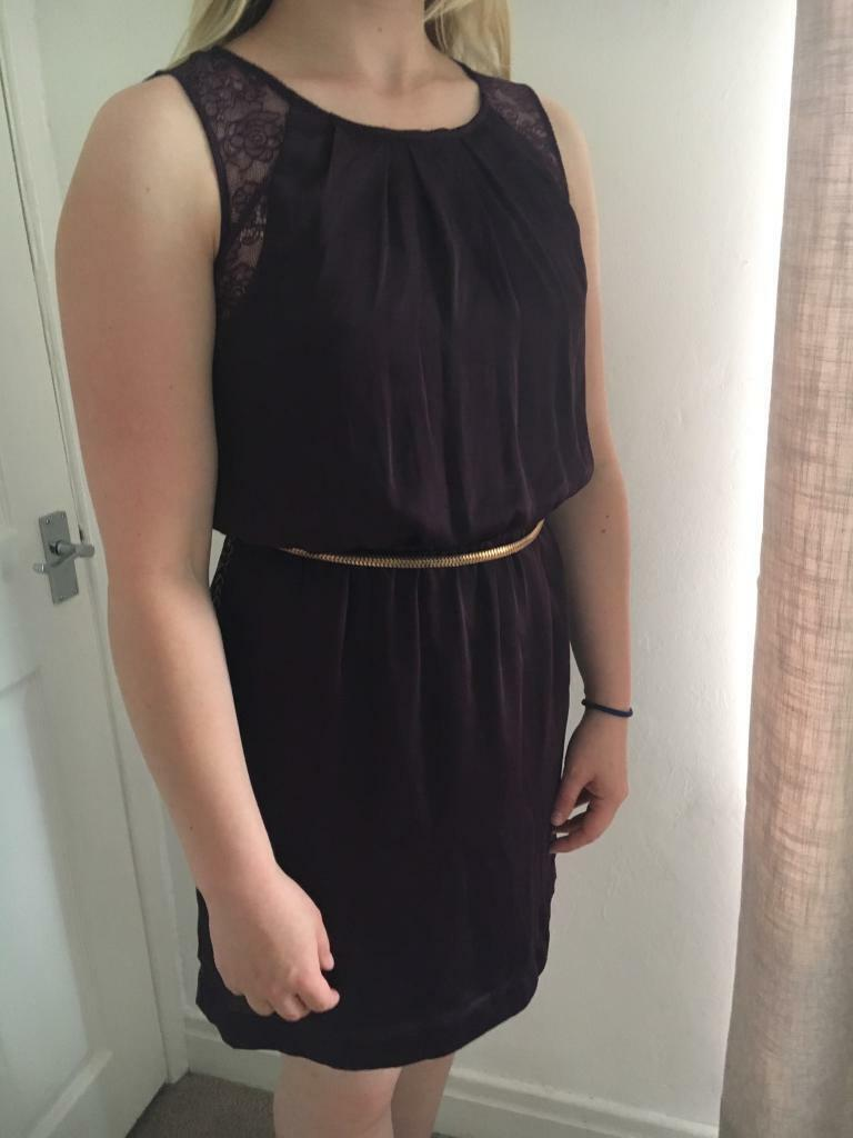 Purple dress size 8/10in Bowburn, County DurhamGumtree - Bought from New Look for £35. Worn once to a formal school ball. Very silky, lightweight material, very comfy. Great in the heat because its so light! Includes a detachable gold chain belt. Lace on shoulders front and back. Stretchy waist. Label...