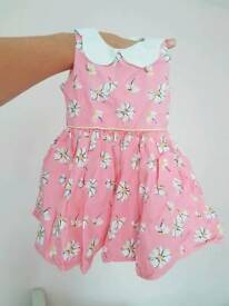 NEXT 6-9m baby girl dress pink daisy