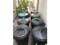 7 x 80 LITRE RUBBISH BINS