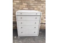 CHEST OF DRAWERS PALE GREY PAINTED MID CENTURY MODERN WOOD