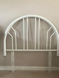 Headboard - White painted Metal - Single Size
