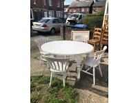 Shabby shic table 4 chairs