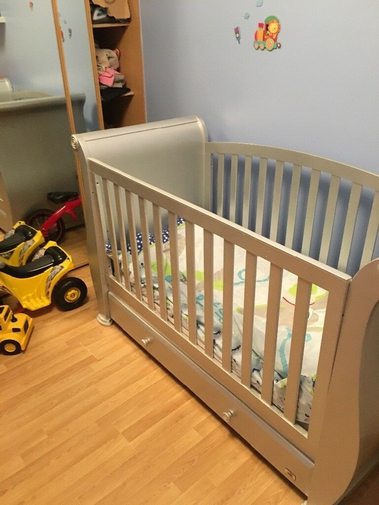 Vib silver sleigh cot bed